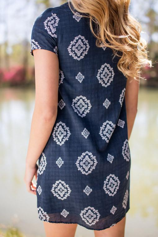 Dresses One Night In Paradise Navy Baroque Print Dress - Lotus Boutique