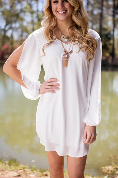 Dresses Clouds in the Sky Ivory Long Sleeve Flowy Dress - Lotus Boutique