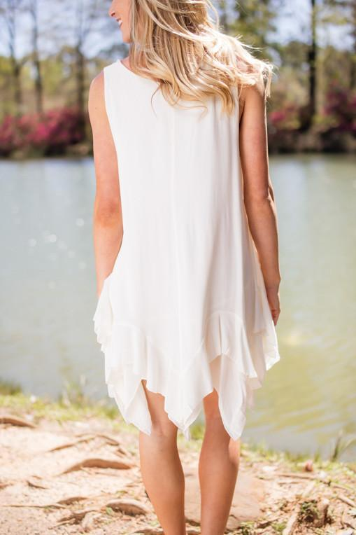 Dresses Living in Paradise Ivory Ruffled Dress - Lotus Boutique