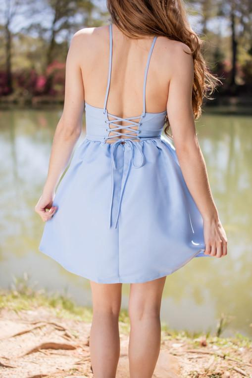 Come Play With Me Blue Fit And Flare Dress-Dress-Lotus Boutique-Lotus Boutique