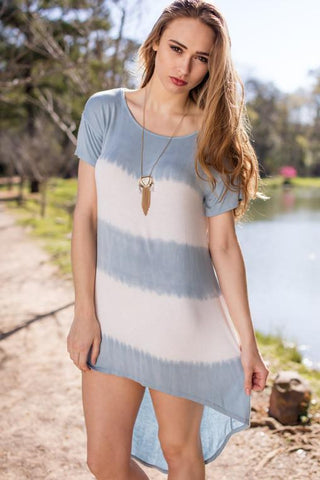 Dusty Blue and White Tie-Dye High Low Dress