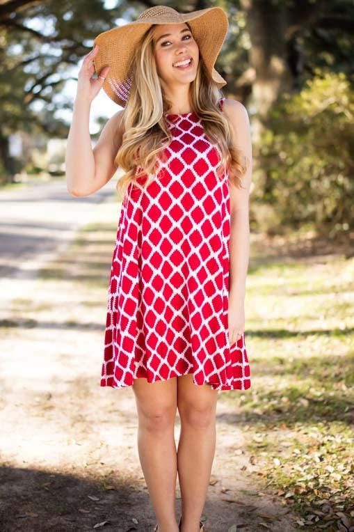 e9e3f1be054c Dresses Waiting on Bae Red and White Swing Dress - Lotus Boutique
