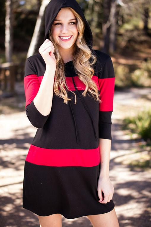 Dresses Back to the Basics Black and Red Striped Hoodie Dress - Lotus Boutique