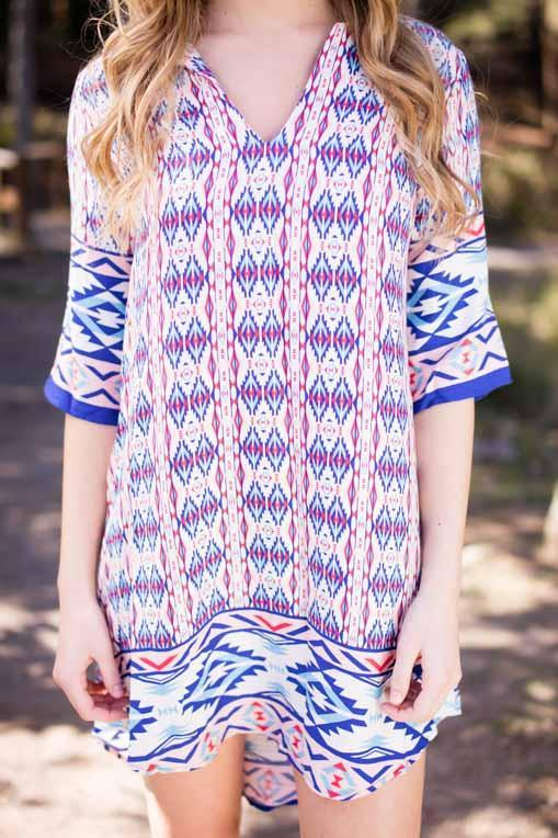 Dresses Must Have Red and Blue Aztec Print Shift Dress - Lotus Boutique
