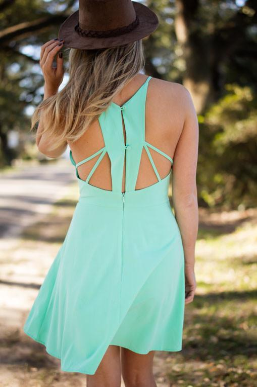 Dresses Mint the World to Me Open Back Fit and Flare Dress - Lotus Boutique