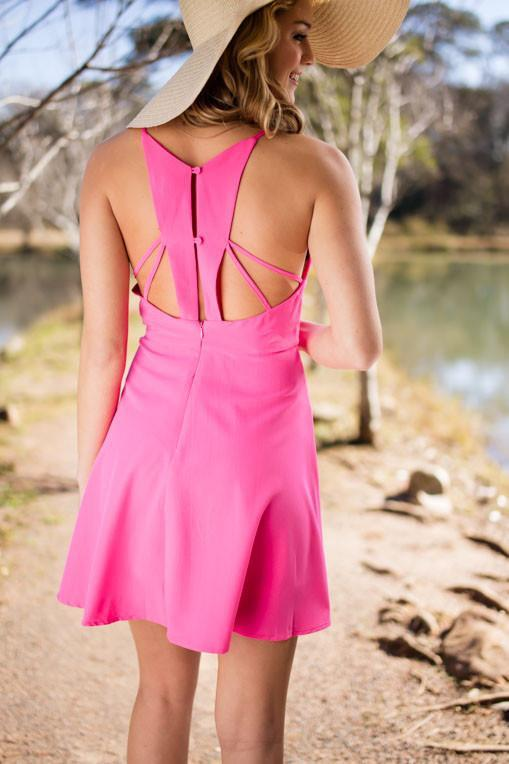 Dresses All or Nothing Pink Fit and Flare Dress - Lotus Boutique