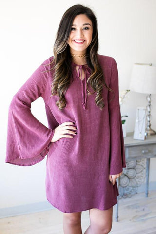 Rose Petal Bell Sleeve Dress
