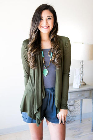 Feeling Cool Flutter Cardigan - Olive-Tops-Lotus Boutique-Lotus Boutique