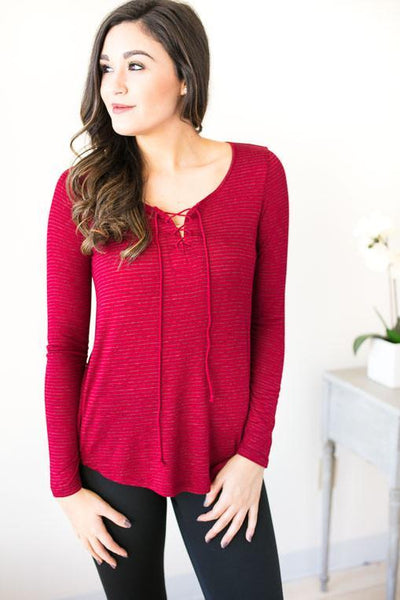 Spontaneous Lace Up Basic Top - Red-Tops-Lotus Boutique-Lotus Boutique