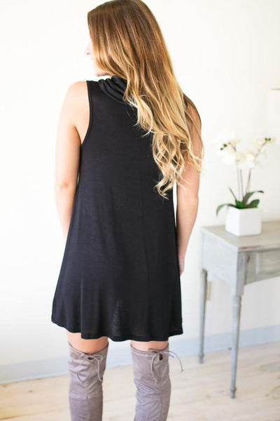Cowl Neck Little Black Dress-Dresses-Lotus Boutique-Lotus Boutique