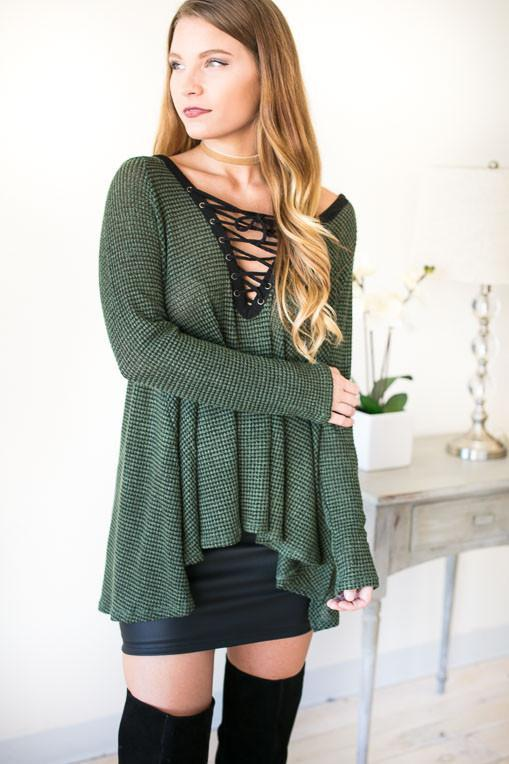 Tree Tops Lace Up Sweater Top