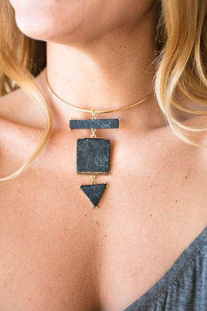 Classic Black Marble Gold Choker-Accessories-Lotus Boutique-Lotus Boutique