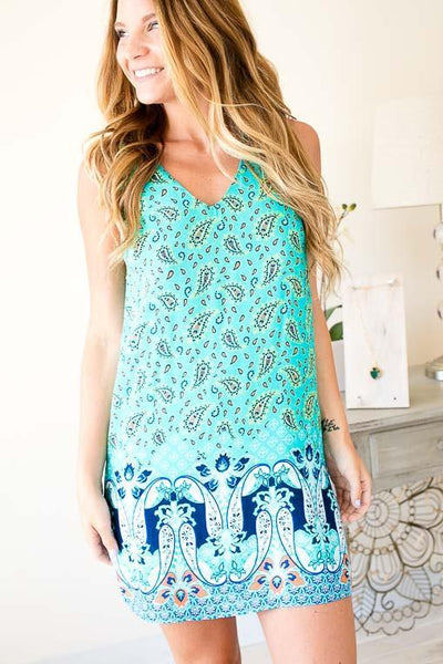 Dresses Playful Paisley Dress with Back Detail - Lotus Boutique
