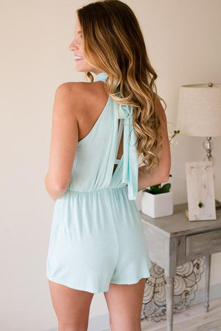 Aqua Chic Mock Neck Romper