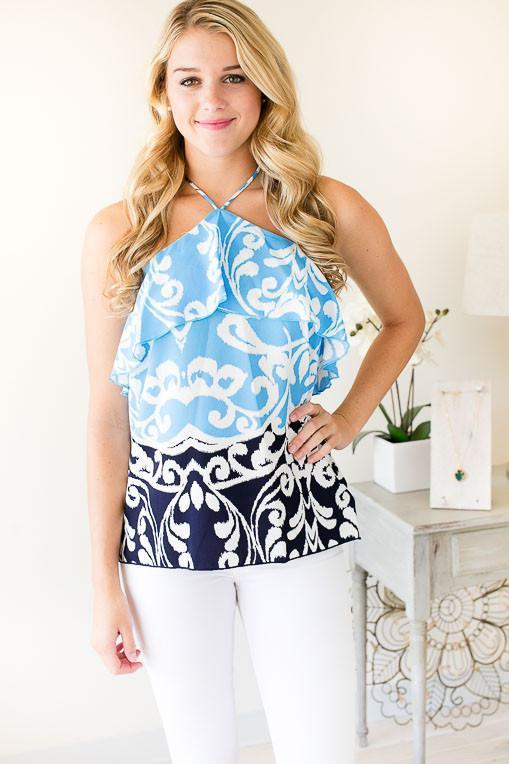 Flip Side Baroque Print Halter Top