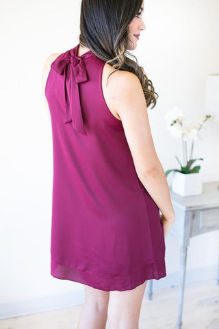 The Mood Choker Neck Dress - Magenta