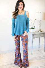 Captivation Floral Bell Bottoms - Camel
