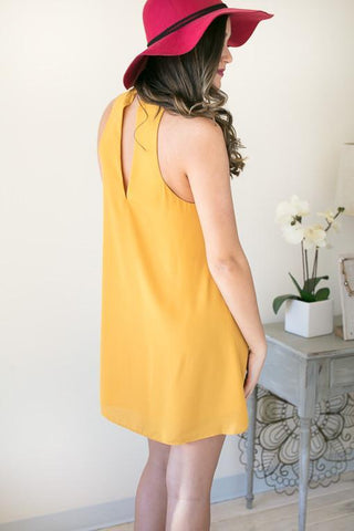 The Mood Choker Neck Sleeveless Dress - Mustard