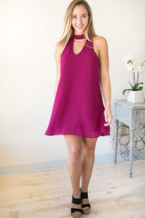 The Mood Choker Neck Sleeveless Dress - Wine