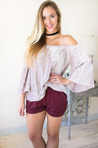 Ice Pink Velvet Off the Shoulder Top