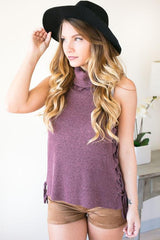Slide to the Side Lace Up Sleeveless Sweater - Wine