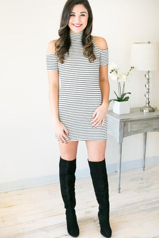 It Girl Striped Mock Neck Bodycon Dress