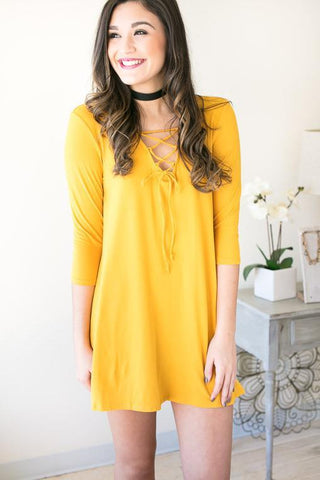 StarGirl 3/4 Sleeve Lace Up Dress - Mustard