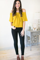 Classic Case Mustard Off the Shoulder Top