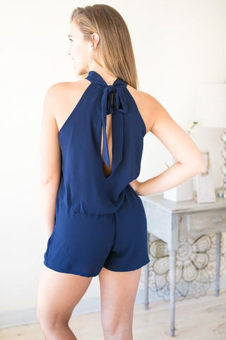 Record Year Choker Neck Romper - Navy