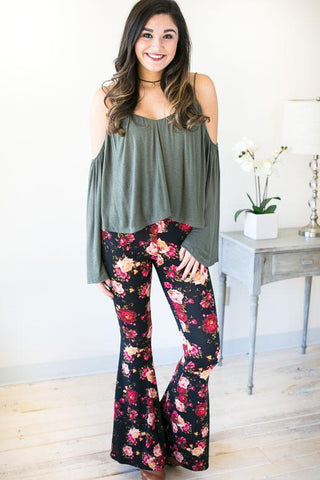 Captivation Floral Bell Bottom Pants - Black