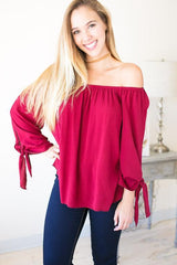 Too Good Off the Shoulder Tie Sleeve Top