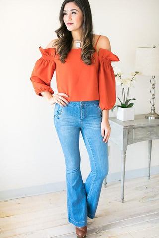 Your Own Way Off the Shoulder Top with Back Detail