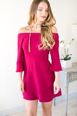 High Hopes Flare Off the Shoulder Dress - Wine