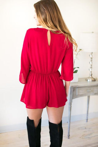 Loving Him Is Red Bell Sleeve Romper