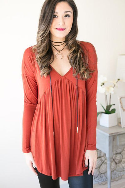 Tops Pumpkin Party T-Back Rust Tunic - Lotus Boutique
