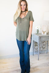 Short Sleeve Boyfriend Tee - Green