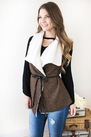 Fireside Confession Brown Fur Lined Vest