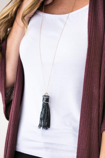 Accessories Lillian Reptile Print Tassel Necklace in Black - Lotus Boutique