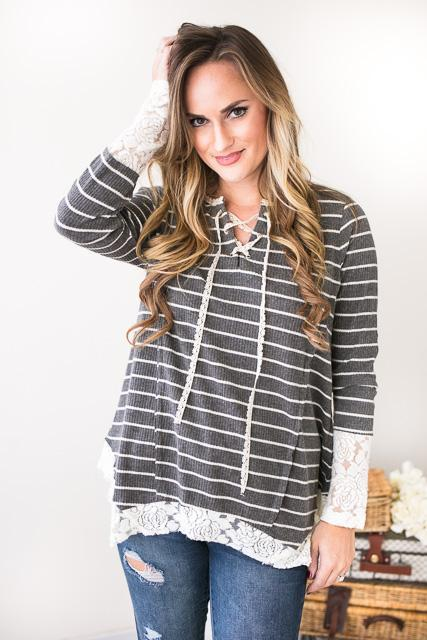 Daydreams Grey Stripe Tunic With Lace Detail