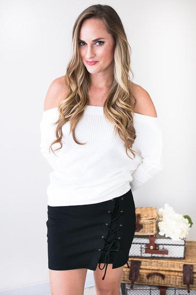 Bottoms Talk to Me Lace Up Skirt - Lotus Boutique