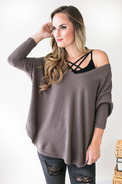 Lola Dolman Sleeve Waffle Knit Top-Tops-Lotus Boutique-Lotus Boutique