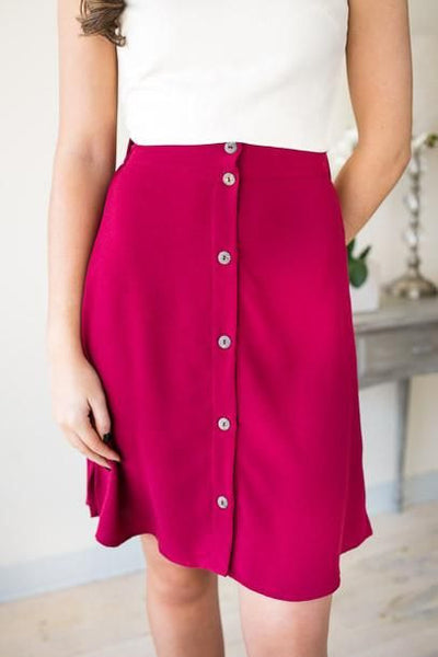 Bottoms A Line Button Up Midi Skirt - Magenta - Lotus Boutique