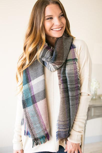 Accessories All I Have to Do Is Wait Plaid Scarf - Lotus Boutique