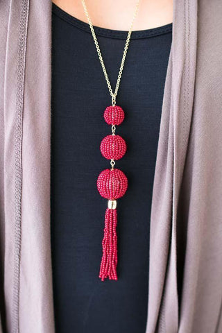 Beads and Balls Tassel Necklace