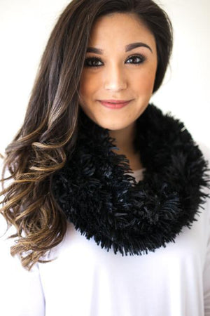 Accessories - Better Than He Can Black Fur Scarf