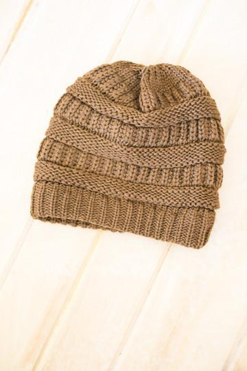 Accessories Can't Make This Up Brown Knit Beanie - Lotus Boutique
