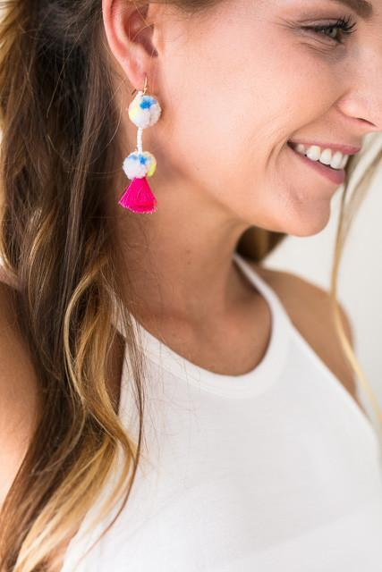 Accessories - Cheer Me On Pom Pom Earrings - Ivory