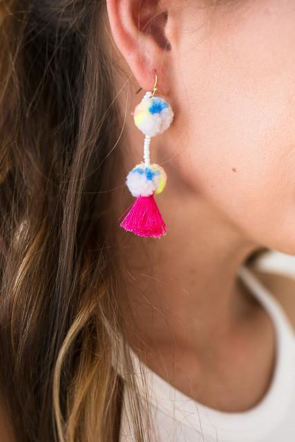 Accessories Cheer Me On Pom Pom Earrings - Ivory - Lotus Boutique