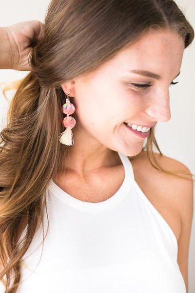 Accessories Cheer Me On Pom Pom Earrings - Pink - Lotus Boutique