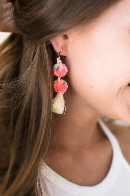 Accessories - Cheer Me On Pom Pom Earrings - Pink